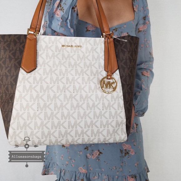 Michael Kors Kimberly Large Tote Brown Vanilla Bag NWT